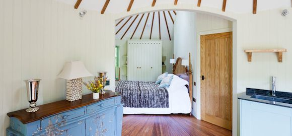 bedroom in harptree court yurt tree house in bristol