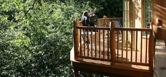 sunny balcony at harptree court yurt tree house in bristol