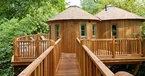 yurt treehouse with bridge at harptree court in bristol
