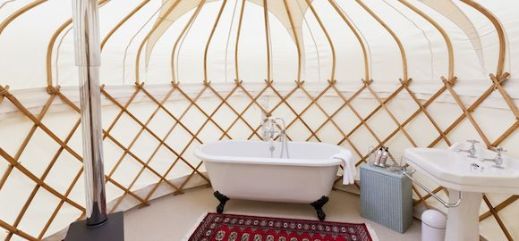 Bathroom in the Yurt at Harptree Court in Bristol