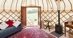 Interior with view of outside The Yurt at Harptree Court in Bristol