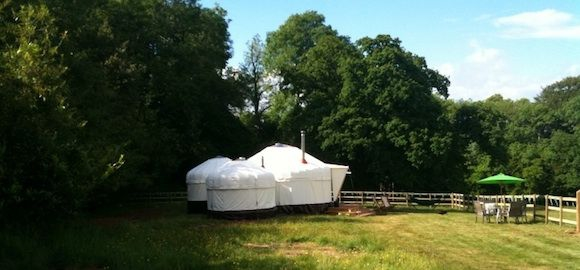 View from outside The Yurt at Harptree in Bristol