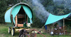 Gypsy-bow-top-camp-at-Wanderlusts,-Cumbria