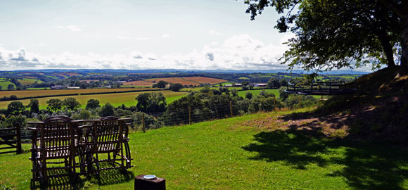 view, landscape, fields, big sky retreat, hookhill plantation, devon