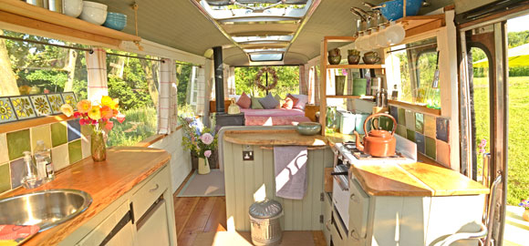 interior, kitchen, majestic bus, herefordshire