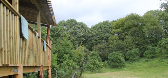 veranda at damson cabin, worcestershire