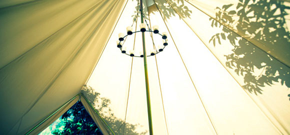 Candelabra in the bell tent at Casa de Laila