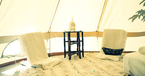 Folding chairs in bell tent at Casa de Laila
