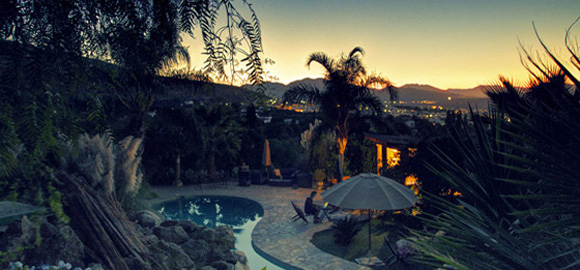 Sunset on the pool at Casa de Laila